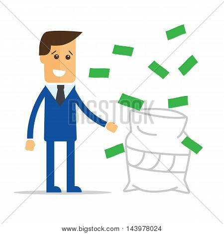 Businessman in a suit catching money vector eps10