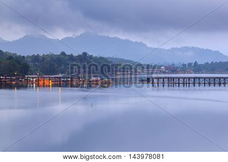 Good morning floating village and old bridge at Sangkhlaburi Kanchanaburi Thailand
