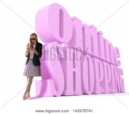 Attractive fashionable red head teen near online shopping 3d text. Huge glasses. Looks at the touch screen phone. 3d rendering