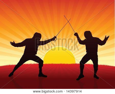 Fencer on Sunset Background Original Illustration