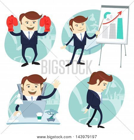Vector Illustration Office man set: showing a presentation, Happy worker at his desk, busy white collar walking sad , superman with gloves