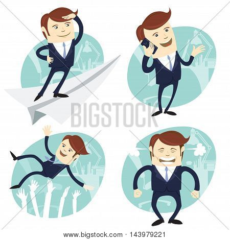 Vector Illustration Set of office man: Office man flying an looking to the future, salesman speaking phone, happy white collar throwing up by his team, angry boss shaking his fists