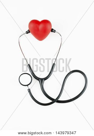 Heart and stethoscope isolated on white background concept for healthcare and diagnosis medical cardiac pulse test