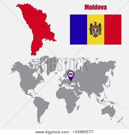 Moldova map on a world map with flag and map pointer. Vector illustration