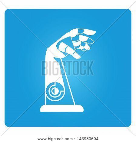 robotic arm icon in blue square button