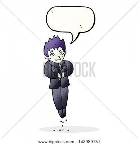 cartoon floating vampire with speech bubble