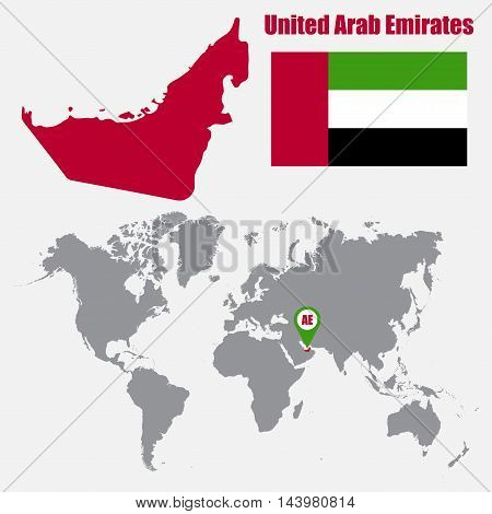 UAE map on a world map with flag and map pointer. Vector illustration