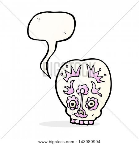cartoon sugar skull with speech bubble