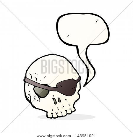 cartoon skull with eye patch with speech bubble