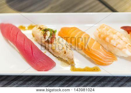 The set of Japanese food,sushi set ,salmon