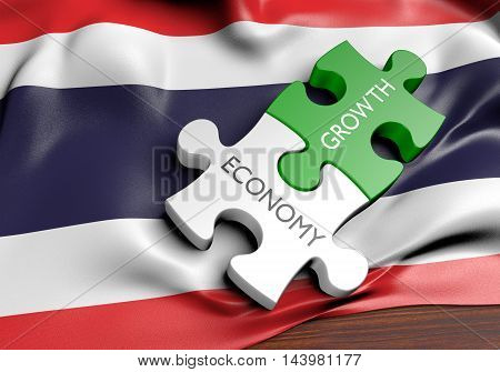 Thailand economy and financial market growth concept, 3D rendering