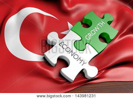 Turkey economy and financial market growth concept, 3D rendering