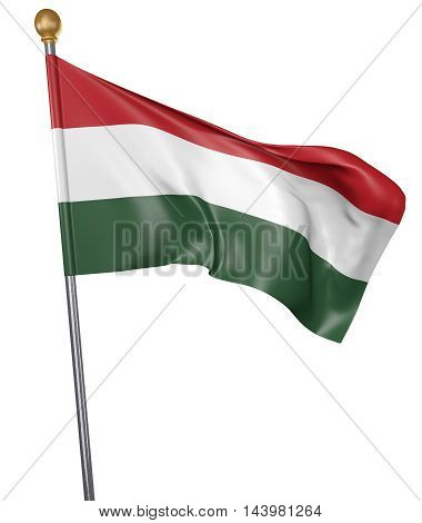 National flag for country of Hungary isolated on white background, 3D rendering