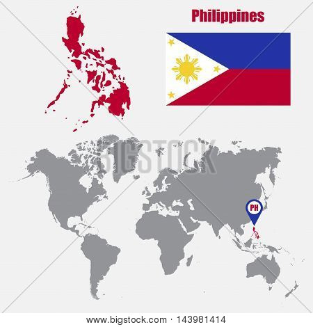 Philippines map on a world map with flag and map pointer. Vector illustration
