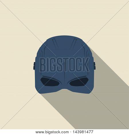 Mask of super hero in a flat design. Blue colour. Vector illustration