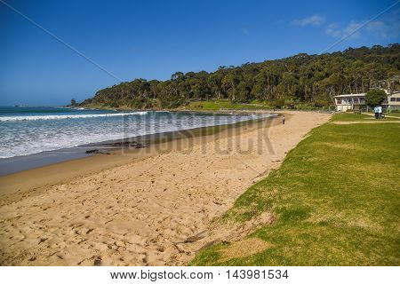 Beautiful sea coastline and blue sky seascape in summer at Lorne beach tourist attraction on the Great Ocean Road Victoria Australia