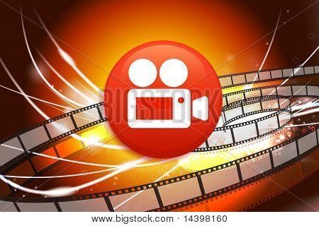 Film Camera Button on Abstract Modern Light Background Original Illustration