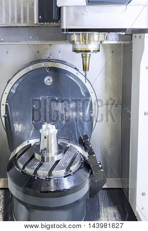 The five axis CNC machinetable type while start cutting turbine sample work piece