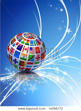 Flag Globe on Abstract Modern Light Background Original Illustration