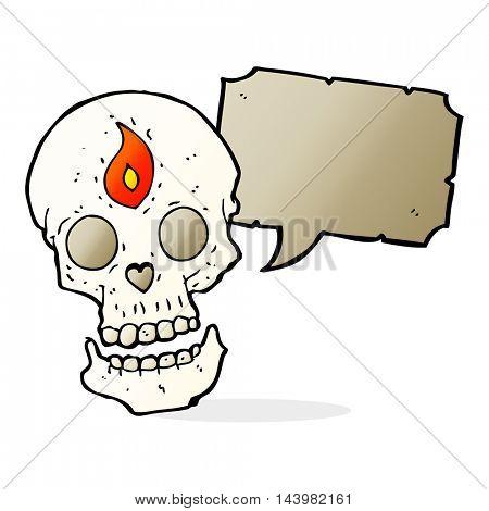 cartoon mystic skull with speech bubble