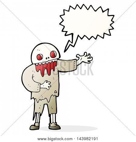 cartoon spooky zombie with speech bubble