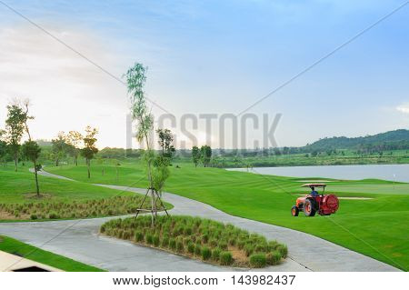 Golf course in the countryside, pattya thailand