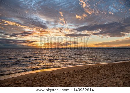 beautiful sunset sky beach and tropical sea landscape in summer season - can use for background or backdrop in travel holiday or natural environment concepts