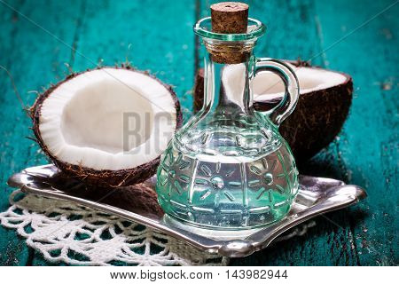 Coconut On Wooden Table.vintage Filter. Organic Healthy Food Concept.beauty And Spa Concept.