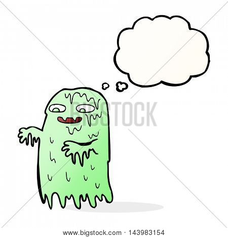 cartoon gross slime ghost with thought bubble