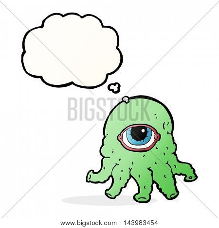 cartoon alien head with thought bubble