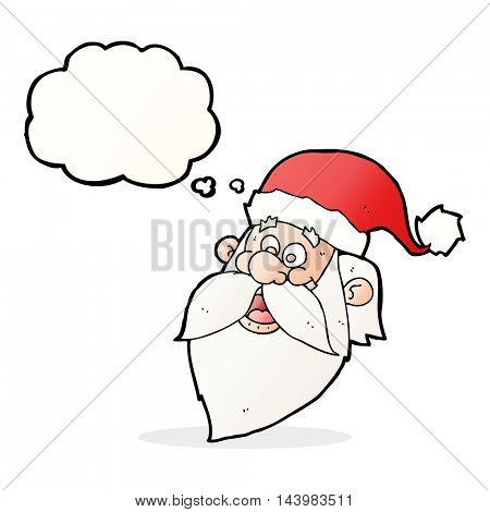 cartoon jolly santa claus face with thought bubble