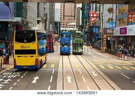 Hong Kong China - October 25 2015: Hong Kong Tramways The trams run on a double track tramline built parallel to the northern coastline of Hong Kong Island.