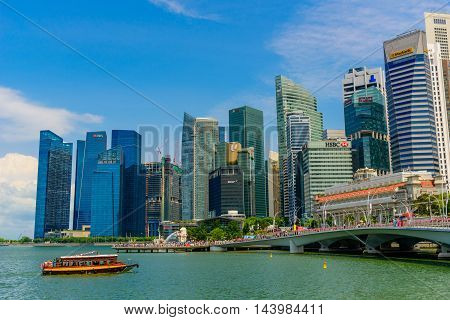SINGAPORE - JULY 10 2016 : Singapore Skyline and view of skyscrapers on Marina Bay at daytime.
