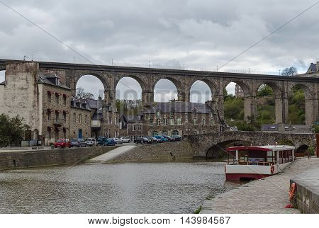 view of river Rance with Viaduct of Lanvallay Dinan France