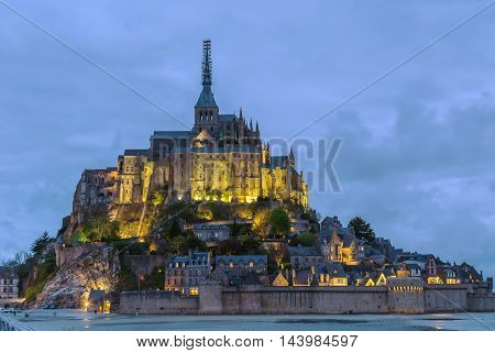 View of Mont Saint-Michel in evening France