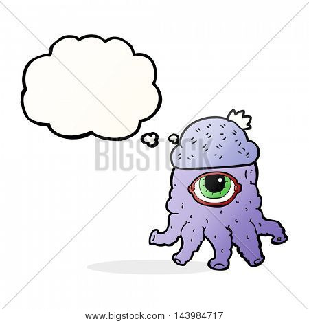 freehand drawn thought bubble cartoon alien wearing  hat