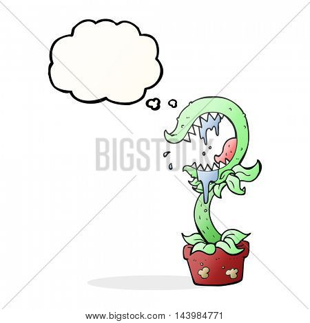 freehand drawn thought bubble cartoon carnivorous plant
