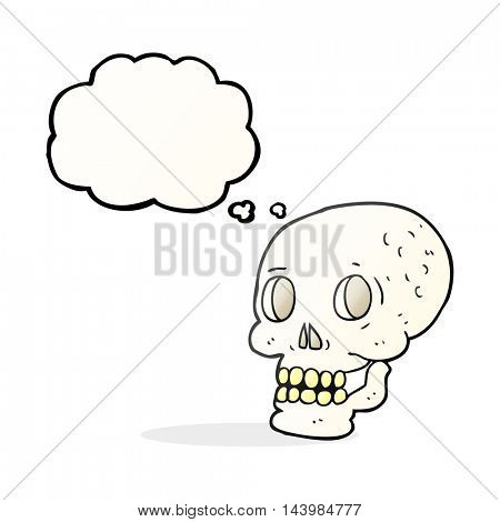 freehand drawn thought bubble cartoon halloween skull