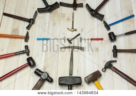 Set of different hammers, nineteen varied hammers,hammers for different uses