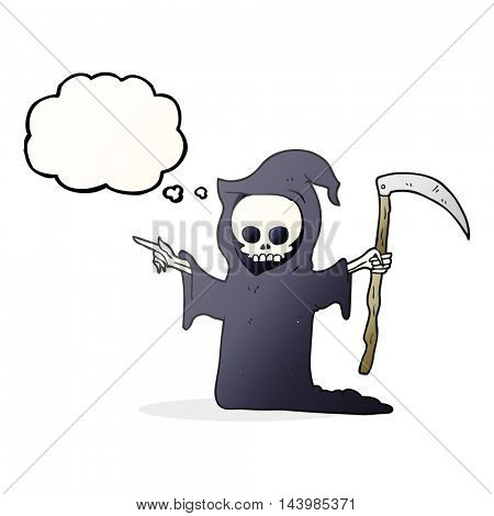 freehand drawn thought bubble cartoon death with scythe