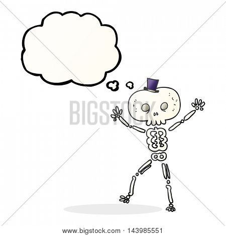 freehand drawn thought bubble cartoon dancing skeleton