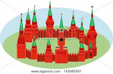 Red Kremlin are in the form of a circle on the grass. Fortress with towers and a clock