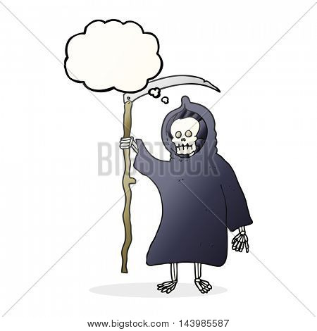 freehand drawn thought bubble cartoon spooky death figure