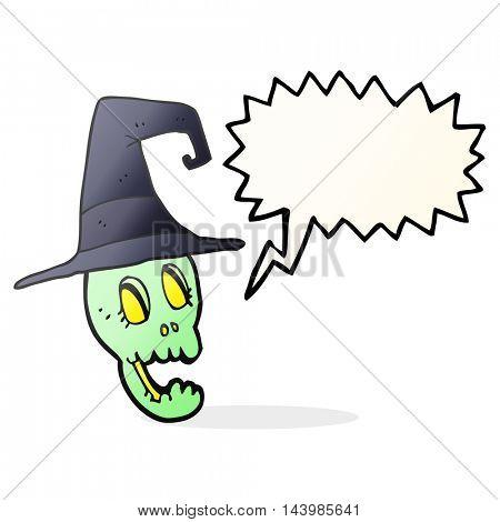 freehand drawn speech bubble cartoon skull wearing witch hat