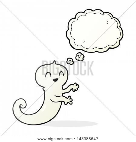 freehand drawn thought bubble cartoon ghost