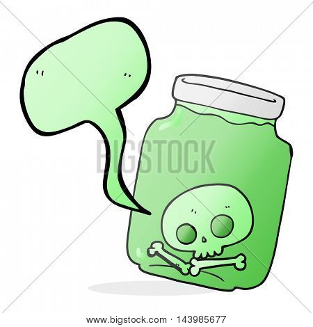 freehand drawn speech bubble cartoon jar with skull