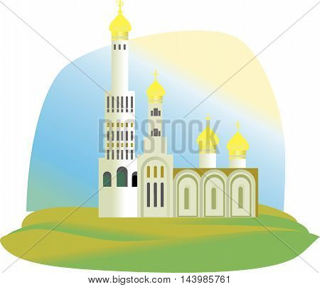 The Cathedral the Church with Golden domes in green grass