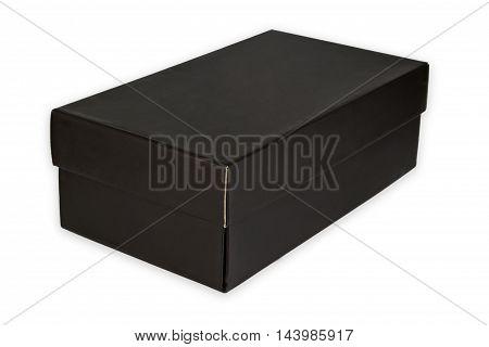 Black shoe box isolated on white background