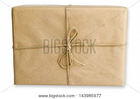Brown Parcel isolated on white background. Shot in Studio.