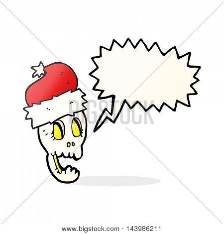 freehand drawn speech bubble cartoon christmas hat on skull